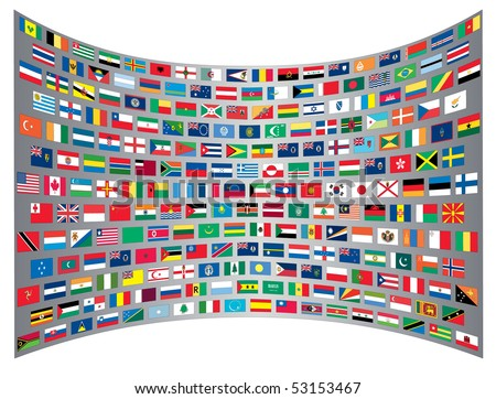 International flags background - stock vector