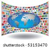 International flags background with an interchangeable object. - stock photo