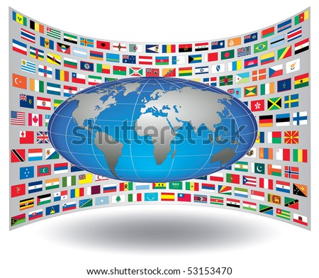 International flags background with an interchangeable object.
