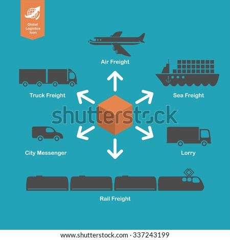 International / Global shipping transportation concept. Logistics and cargo business icons and infographic illustration. - stock vector