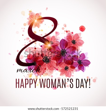 International Happy Women's Day - 8 March holiday background. Floral Greeting card design. Vector illustration.