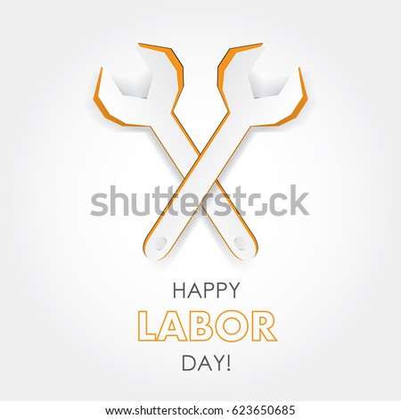 International Labor Day poster and banner. Worker's day. May holidays. Creative cutout wrench illustration. Template for greeting, flyer, web-design. Tools for job. Traditional emblem