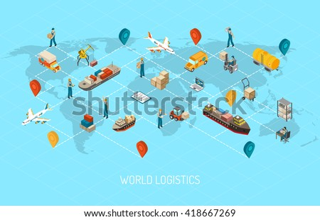 International logistic company worldwide operations with cargo distribution shipment and transportations map isometric poster abstract vector illustration - stock vector