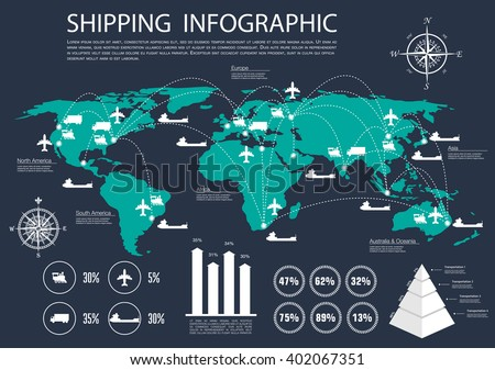 International logistics, delivery and shipping service infographics with map and delivery routes of road and rail, air and water transport, bar graph and diagrams of statistics information and volume