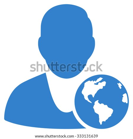 International Manager vector icon. Style is flat symbol, cobalt color, rounded angles, white background.