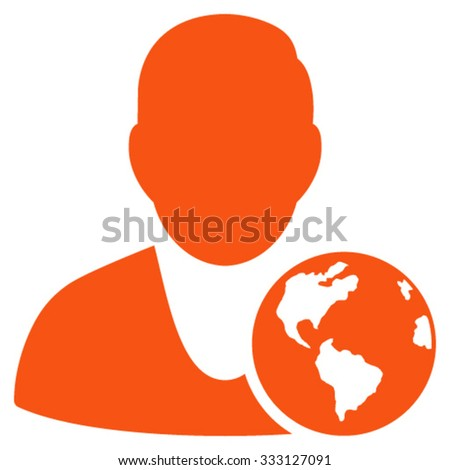 International Manager vector icon. Style is flat symbol, orange color, rounded angles, white background.