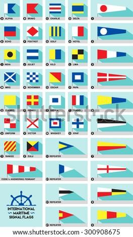 International maritime or nautical signal flags - stock vector