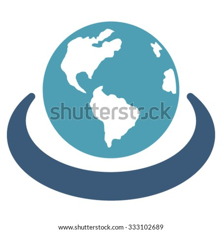 International Network vector icon. Style is bicolor flat symbol, cyan and blue colors, rounded angles, white background. - stock vector