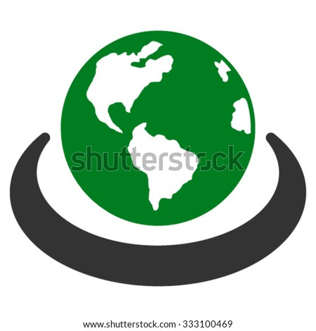 International Network vector icon. Style is bicolor flat symbol, green and gray colors, rounded angles, white background. - stock vector