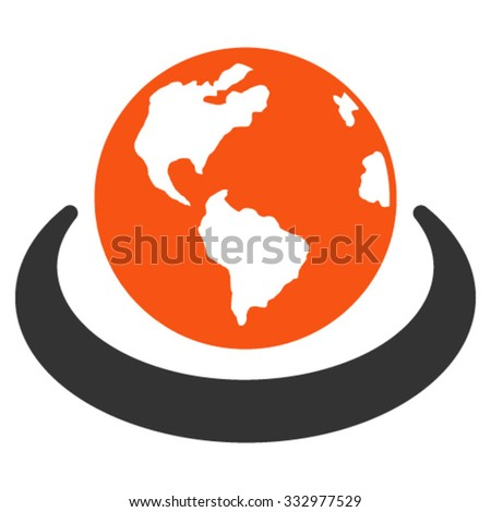 International Network vector icon. Style is bicolor flat symbol, orange and gray colors, rounded angles, white background. - stock vector