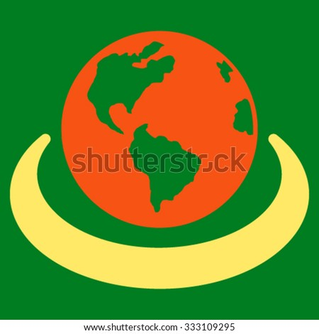 International Network vector icon. Style is bicolor flat symbol, orange and yellow colors, rounded angles, green background. - stock vector