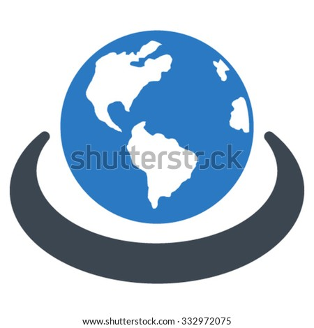 International Network vector icon. Style is bicolor flat symbol, smooth blue colors, rounded angles, white background. - stock vector