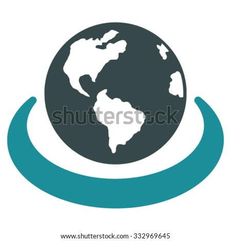 International Network vector icon. Style is bicolor flat symbol, soft blue colors, rounded angles, white background. - stock vector