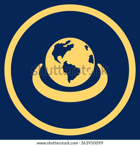 International Network vector icon. Style is flat circled symbol, yellow color, rounded angles, blue background.