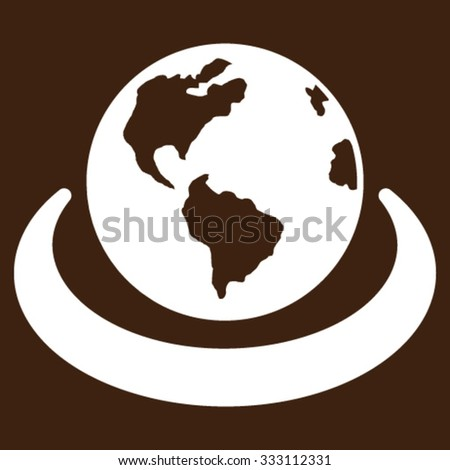 International Network vector icon. Style is flat symbol, white color, rounded angles, brown background. - stock vector