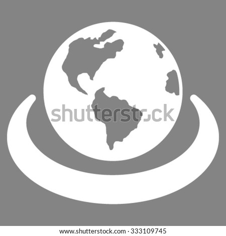 International Network vector icon. Style is flat symbol, white color, rounded angles, gray background. - stock vector