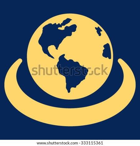 International Network vector icon. Style is flat symbol, yellow color, rounded angles, blue background. - stock vector