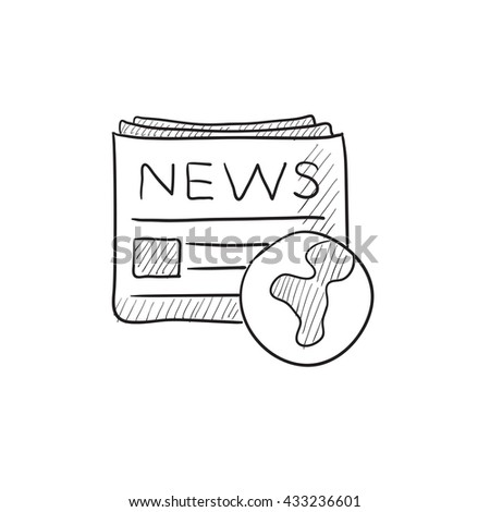International newspaper vector sketch icon isolated on background. Hand drawn International newspaper icon. International newspaper sketch icon for infographic, website or app. - stock vector