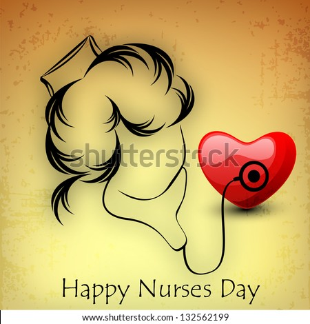 International nurse day concept with illustration of a nurse checking heart with stethoscope. - stock vector