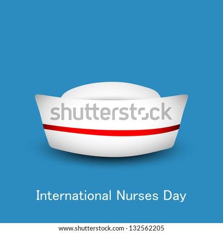 International nurse day concept with nurse cap on blue background. - stock vector
