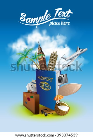 International passport and elements of travel and attractions. - stock vector