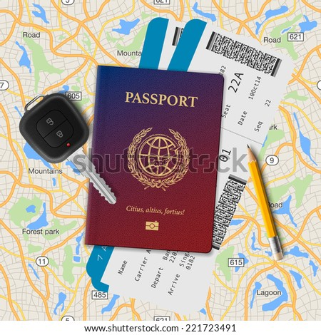 International passport, boarding pass, tickets with barcode and key on the map seamless background, vector illustration.  - stock vector