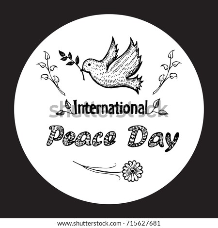 International Peace Day Colorless Vector Dove Stock Vector 715627681