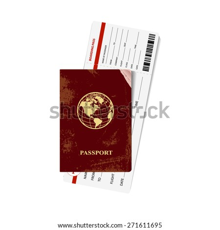 International red passport with a boarding card. Vector illustration. - stock vector