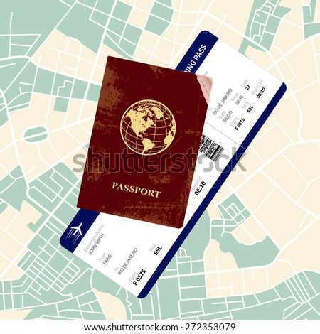 International red passport with a boarding pass on a map. Vector illustration. - stock vector