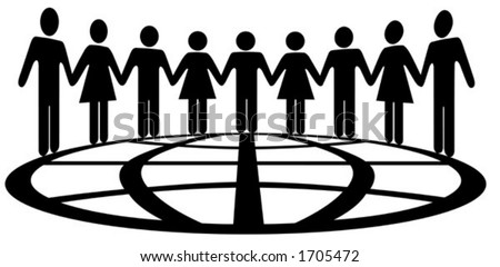 International symbolism for global cooperation, teamwork, interconnection, network, unity... - stock vector