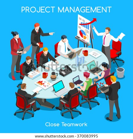 International Symposium Business Meeting Flat 3d Isometric Isometry Workshop Special Event Speaker Moderators Public Worldwide Online Conference. JPG JPEG Image Drawing Object Picture Vector EPS 10 AI - stock vector