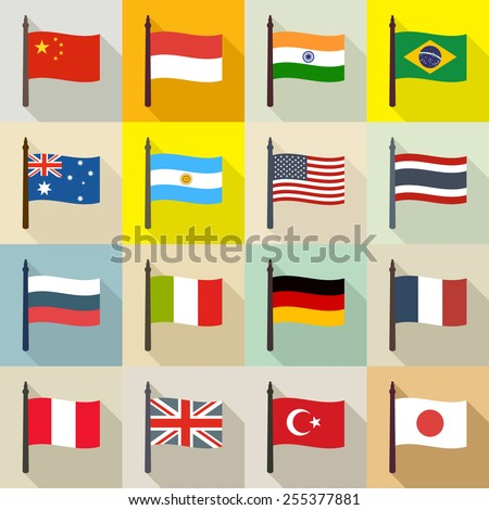 International theme background with flags - stock vector