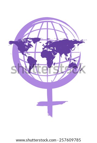 International Women's Day conceptual image with Venus gender symbol in calligraphy style. Editable Vector artwork and Jpg raster. - stock vector