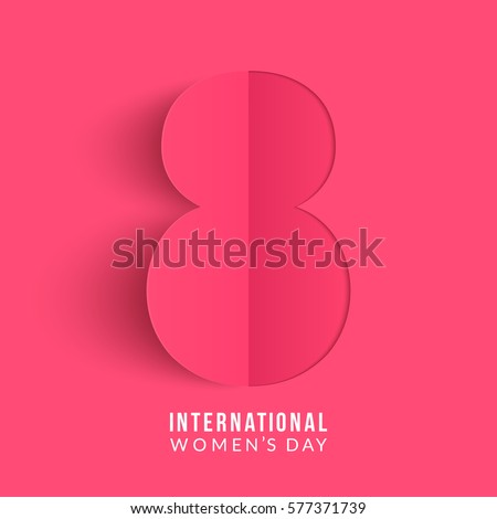 International women's day poster. 8 number origami design. Happy Mother's Day. Eps10 vector illustration with place for your text.