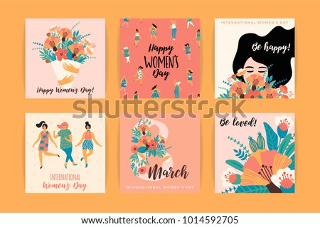 International Women's Day. Vector templates for card, poster, flyer and other users