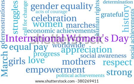 International Women's Day word cloud on a white background.