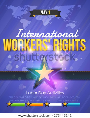 International Worker's Rights Poster or Flyer, Blue Colors, Shine Background - stock vector