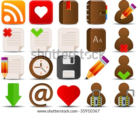 Internet and blogger icons set of 20 - stock vector