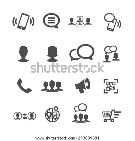 Internet and Communication icons set, Vector - stock vector