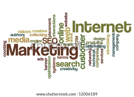 Internet and Marketing - Word Cloud - stock vector