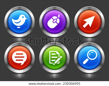 Internet and Online Networking on Color Round Buttons - stock vector