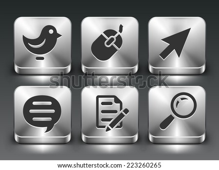 Internet and Online Networking on Silver Square Buttons - stock vector