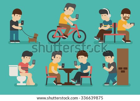 Internet and smartphone addiction , eps10 vector format - stock vector
