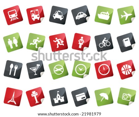 Internet and Travel Icon Set. Tag and Label Style - stock vector