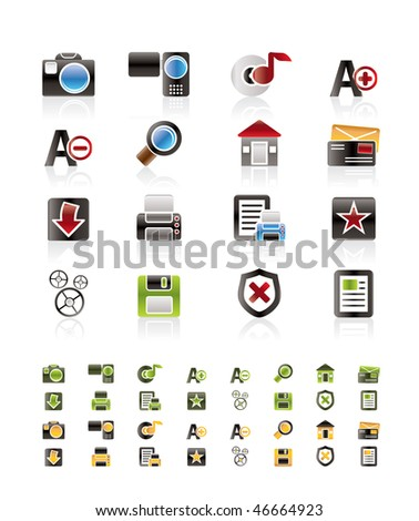 Internet and Website Vector Icon Set   - 3 colors included - stock vector