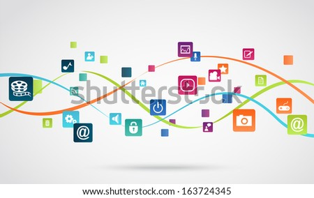 Internet application background - stock vector