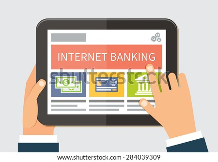 Internet banking and mobile payments technology. Flat vector illustration - stock vector