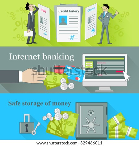 Internet banking and safe storage money. Credit history, good and bad, business financial bank, cash and loan, economy currency, dollar budget illustration - stock vector