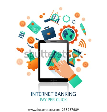 Internet banking application with hand touching tablet and online payment icons vector illustration - stock vector