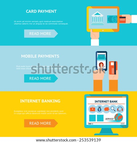 Internet banking, card and mobile payments. Contactless internet transaction. Vector illustration - stock vector